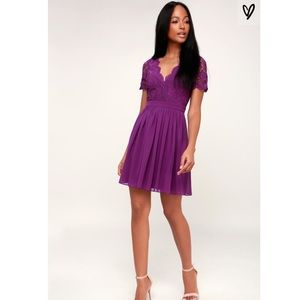 Lulus Angel in Disguise Purple Lace Skater Dress